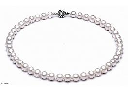 Naszyjnik, perły białe hodowane, słodkowodne okrągłe 8- 8.5mm, zapięcie srebrne rodowane