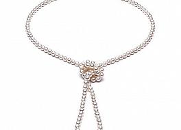 """Naszyjnik typu """"opera"""", perły białe hodowane, słodkowodne okrągłe 6-6,5mm"""