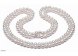 """Naszyjnik typu """"opera"""", perły białe hodowane, słodkowodne okrągłe7- 7,5mm"""