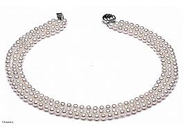 Naszyjnik potrójny, perły białe hodowane, słodkowodne okrągłe 6-6.5mm, zapięcie srebrne rodowane