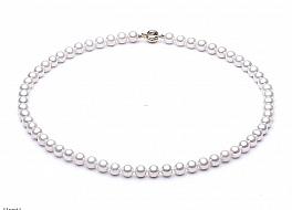 Naszyjnik, perły białe hodowane, słodkowodne okrągłe 6-6.5mm, zapięcie złote