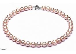 Naszyjnik, perły łososiowe hodowane, słodkowodne okrągłe 10-11mm, zapięcie srebrne rodowane