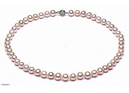 Naszyjnik, perły łososiowe hodowane, słodkowodne okrągłe 7-7.5mm, zapięcie złote
