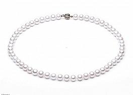 Naszyjnik, perły białe hodowane, słodkowodne okrągłe 8-8.5mm, zapięcie złote