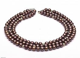 Naszyjnik potrójny, perły brązowe hodowane, słodkowodne okrągłe 10-11mm, zapięcie srebrne pozłacane