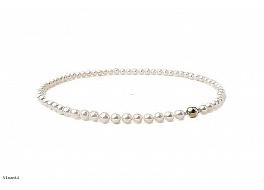 Naszyjnik, perły białe słonowodne okrągłe 6,5- 7mm, zapięcie złote