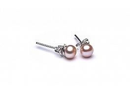 Kolczyki sztyft, perły łososiowe hodowane, słodkowodne  5-5.5mm, srebro