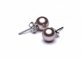Kolczyki na sztyfcie, perły różowe shell okrągłe 8mm