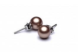 Kolczyki na sztyfcie, perły brązowe shell okrągłe 8mm