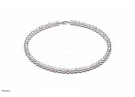 Naszyjnik, perły białe hodowane, słodkowodne 5-5,5mm, zapięcie srebrne