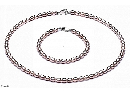 Set - necklace and bracelet - freshwater pearls, salmon, rice, 4-4,5mm