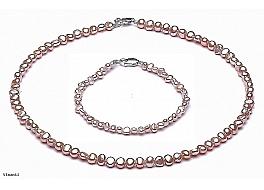 Komplet Naszyjnik i bransoleta, perły łososiowe hodowane, słodkowodne barok 4-4,5mm, zapięcie srebrne