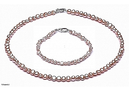 Set Necklace and bracelet - freshwater pearls, salmon, baroc, 4-4,5mm