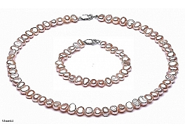 Set Necklace and Bracelet - freshwater pearls, salmon, baroc, 7-8mm