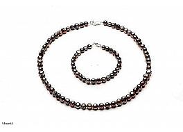 Komplet Naszyjnik i Bransoleta, perły brązowe hodowane, słodkowodne barok 7-7,5mm, zapięcie srebrne