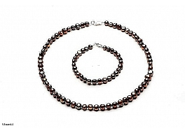 Set: Necklace and Bracelet - freshwater pearls, brown, baroc, 7-7,5mm