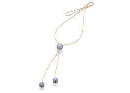 Naszyjnik z perłami shell wiekości 10-18 mm w kolorze grafitowym,pozłacany