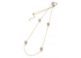 Naszyjnik z białymi perłami shell 10 ,wysadzany cyrkoniami,pozłacany.