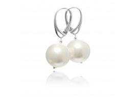 Kolczyki wiszące ,perły białe shell 14mm,srebro