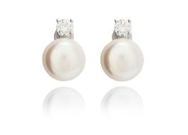 Kolczyki,perła biała,hodowana,słodkowodna 10mm,srebro rodowane z cyrkonią
