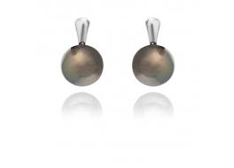 Kolczyki,perła grafitowa 5,5mm,hodowana,słodkowodna,srebro rodowane