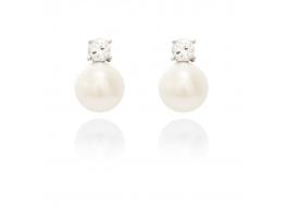 Kolczyki,perła biała,hodowana,słodkowodna 7mm,srebro rodowane z cyrkonią