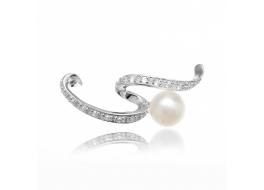 Broszka srebrna ,rodowana,perła słodkowodna,hodowana,biała 9mm