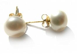 Kolczyki sztyft, perły białe hodowane, słodkowodne  8-8.5mm, złoto