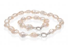Komplet-naszyjnik z bransoletą-perły łososiowe,słodkowodne,hodowane 12-20mm