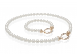 Komplet-naszyjnik i bransoleta-perły białe shell okrągłe 8mm,zapięcia pozłacane z cyrkoniami