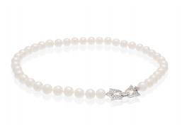 Naszyjnik,perły białe,słodkowodne,hodowane 8-8,5mm,zapięcie srebrne rodowane