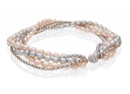 Naszyjnik zwijaniec,perły hodowane,słodkowodne 5-10mm,mix kolorów,zapięcie srebrne