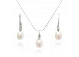 Komplet -kolczyki z zawieszką-perły słodkowodne,hodowane,białe 10-12mm,srebro rodowane