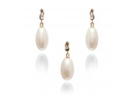 Komplet-kolczyki z zawieszką-perły słodkowodne,hodowane,białe 15mm,złoto
