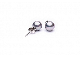 Kolczyki na sztyfcie, perły shell szare okrągłe 8mm