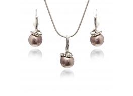 Komplet-kolczyki z zawieszką-perły ciemny róż, shell 10mm,zapięcie posrebrzane,rodowane