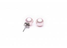 Kolczyki na sztyfcie, perły shell jasnoróżowe okrągłe 8mm