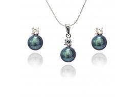 Komplet-kolczyki z zawieszką- perła słodkowodna,hodowana,grafitowa7,5-8,5mm,srebro rodowane