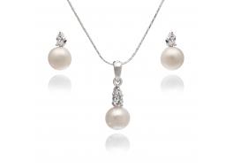 Komplet-kolczyki z zawieszką- perła słodkowodna,hodowana,biała 7,5-8mm,srebro rodowane