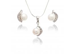 Komplet-kolczyki z zawieszką- perła słodkowodna,hodowana,biała 7-7,5mm,srebro rodowane