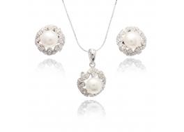 Komplet-kolczyki z zawieszką- perła słodkowodna,hodowana,biała 7,5mm,srebro rodowane