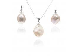 Komplet -kolczyki z zawieszką-perły słodkowodne,hodowane,białe 15-20mm,srebro rodowane