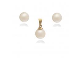 Komplet-kolczyki z zawieszką- perła okrągła,słodkowodna,hodowana,biała 7mm,złoto