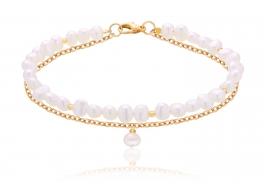 Bransoleta,perła biała słodkowodna,hodowana,6mm barok