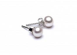 Kolczyki sztyft, perły białe hodowane, słodkowodne  7-7,5mm, srebro