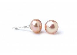 Kolczyki sztyft, perły łososiowe hodowane, słodkowodne  7-7.5mm, srebro