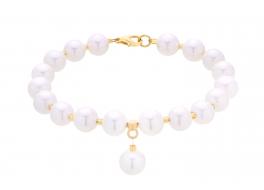 Bransoleta,perły shell,białe 8mm
