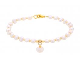 Bransoleta,perły słodkowodne,hodowane,białe 5-6 mm
