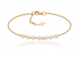 Bransoleta z perłami slodkowodnymi,hodowanymi 4mm