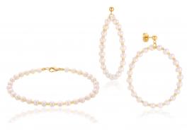 Komplet- bransoleta z kolczykami,perła słodkowodna,hodowana 4-4,5mm